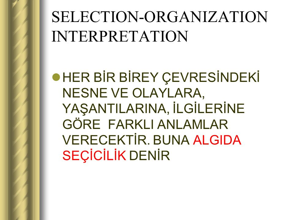 SELECTION-ORGANIZATION INTERPRETATION