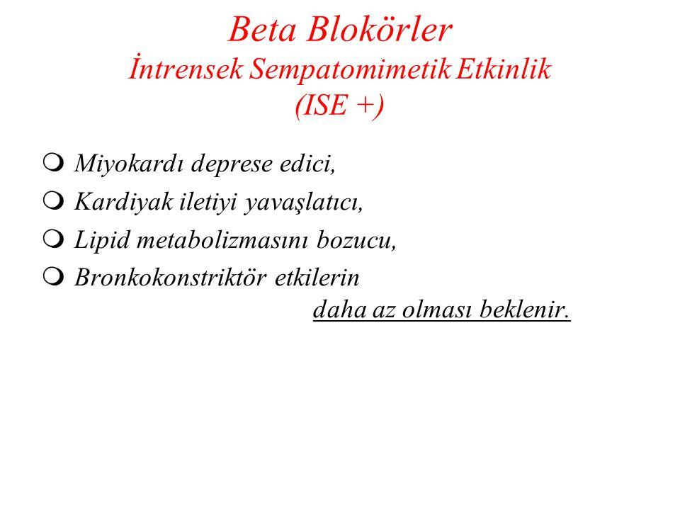 Beta Blokörler İntrensek Sempatomimetik Etkinlik (ISE +)