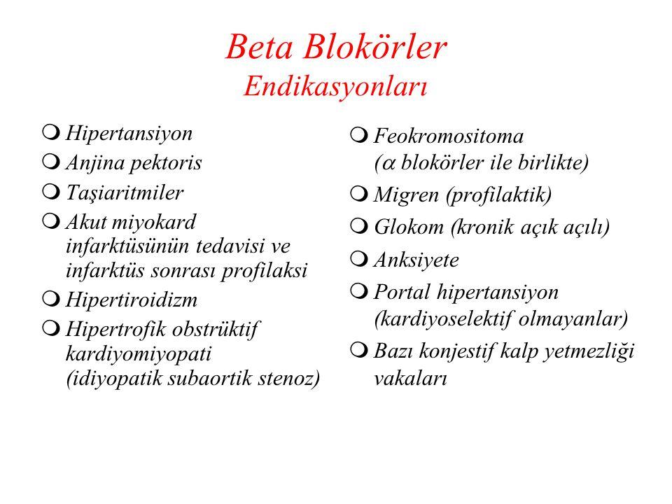 Beta Blokörler Endikasyonları