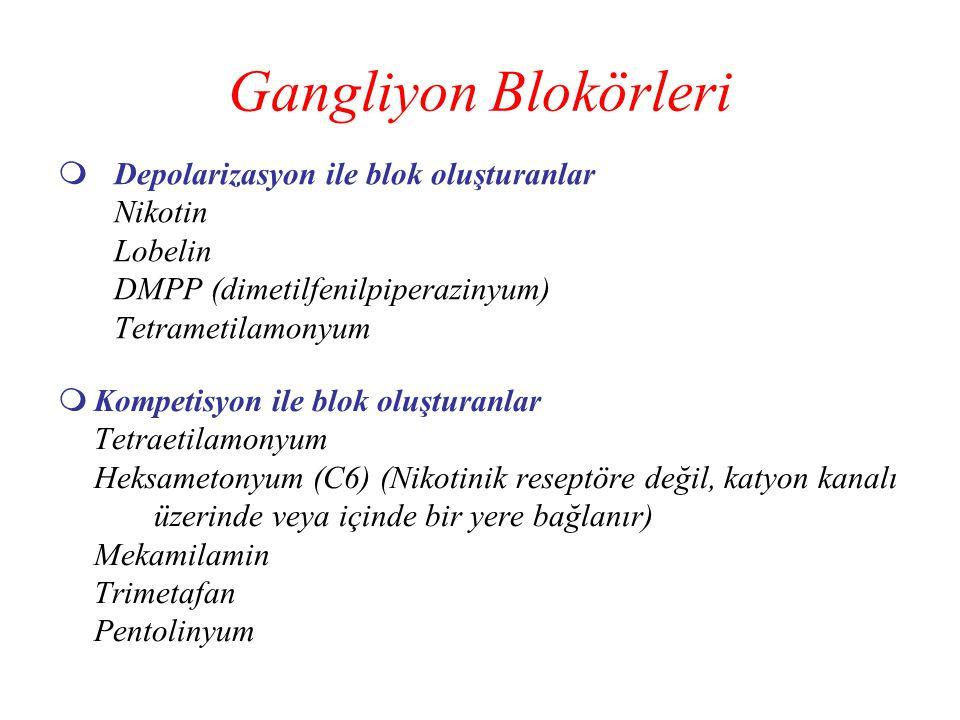Gangliyon Blokörleri Depolarizasyon ile blok oluşturanlar Nikotin Lobelin DMPP (dimetilfenilpiperazinyum) Tetrametilamonyum.