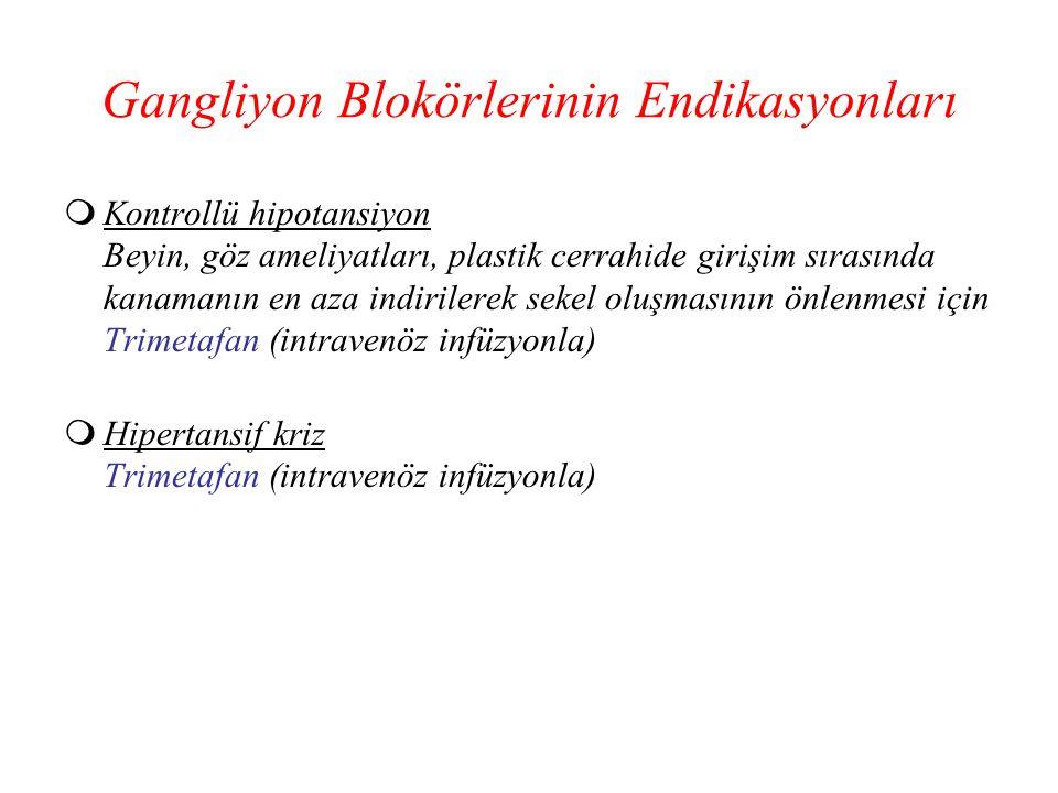 Gangliyon Blokörlerinin Endikasyonları