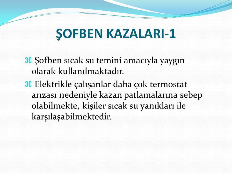 ŞOFBEN KAZALARI-1 Şofben sıcak su temini amacıyla yaygın olarak kullanılmaktadır.