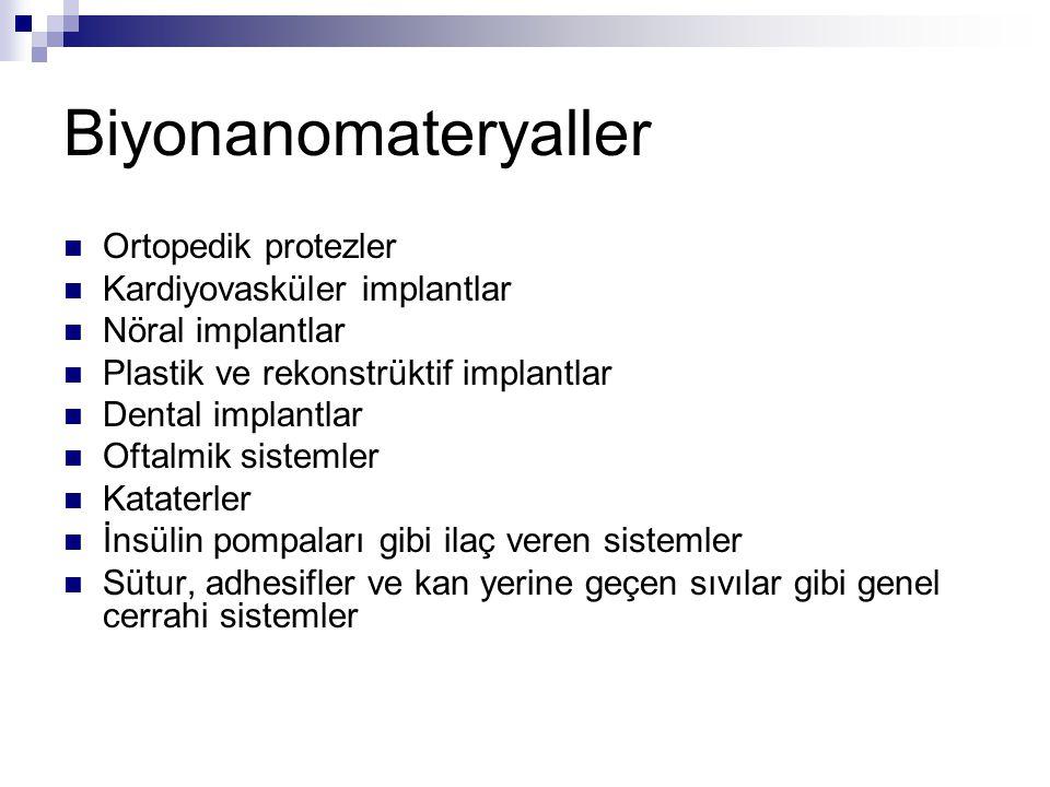 Biyonanomateryaller Ortopedik protezler Kardiyovasküler implantlar