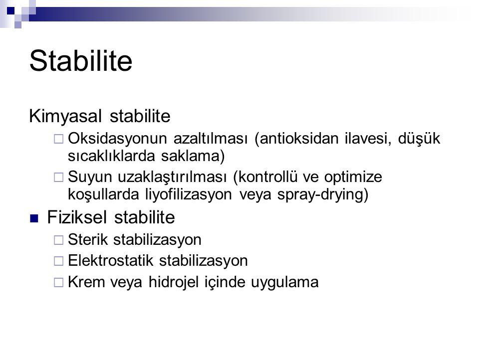 Stabilite Kimyasal stabilite Fiziksel stabilite