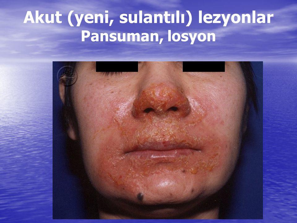 Akut (yeni, sulantılı) lezyonlar Pansuman, losyon