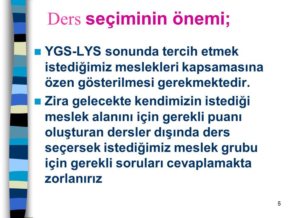 Ders seçiminin önemi; YGS-LYS sonunda tercih etmek istediğimiz meslekleri kapsamasına özen gösterilmesi gerekmektedir.