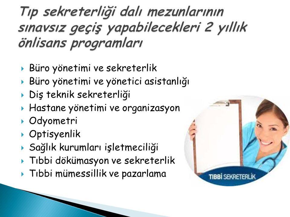 Tıp sekreterliği dalı mezunlarının sınavsız geçiş yapabilecekleri 2 yıllık önlisans programları