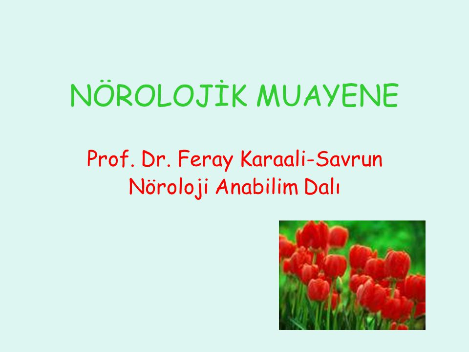Prof. Dr. Feray Karaali-Savrun Nöroloji Anabilim Dalı