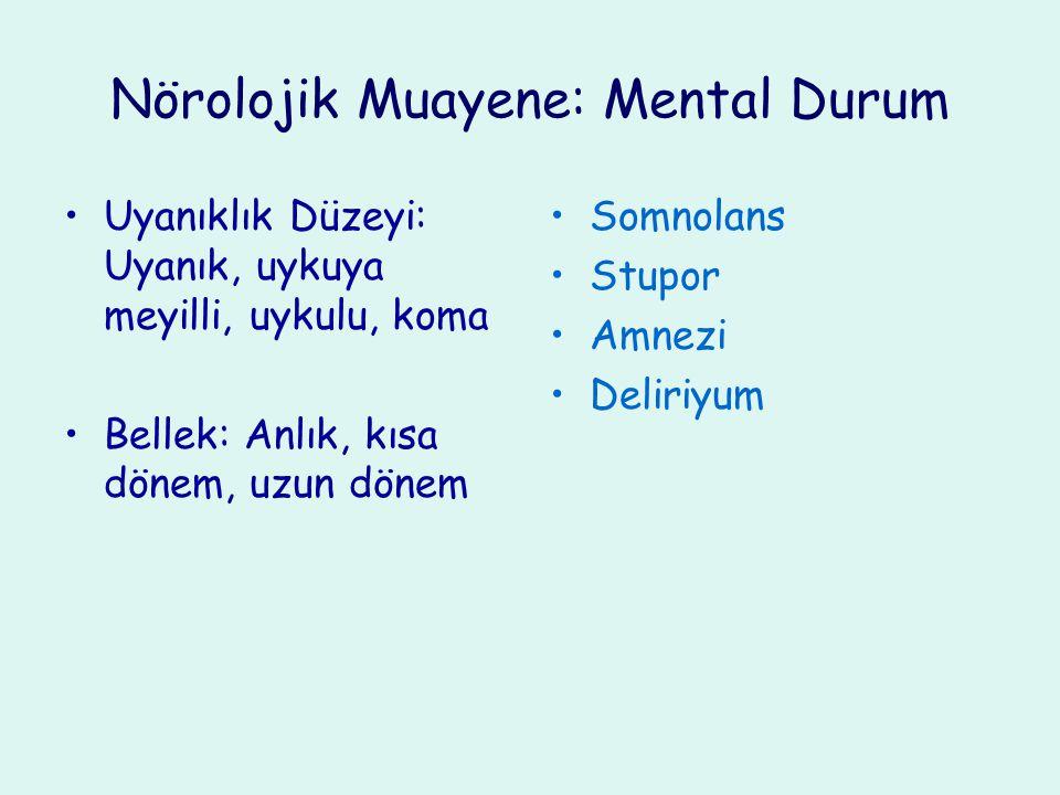 Nörolojik Muayene: Mental Durum