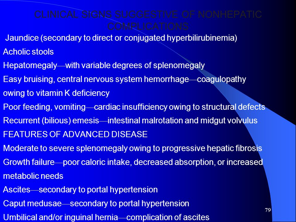 CLINICAL SIGNS SUGGESTIVE OF NONHEPATIC COMPLICATIONS