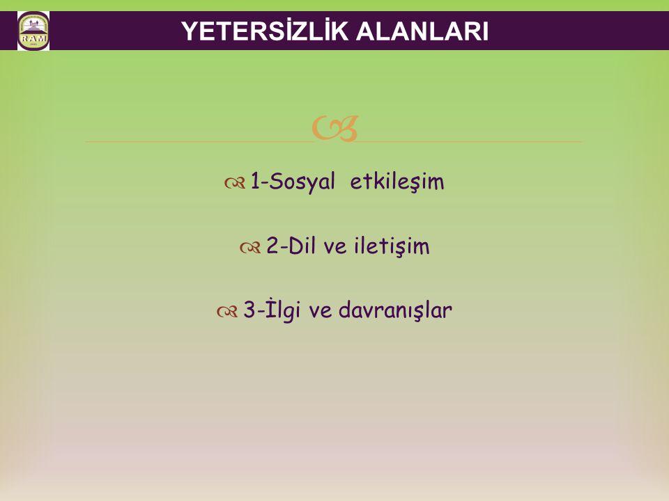 YETERSİZLİK ALANLARI 1-Sosyal etkileşim 2-Dil ve iletişim