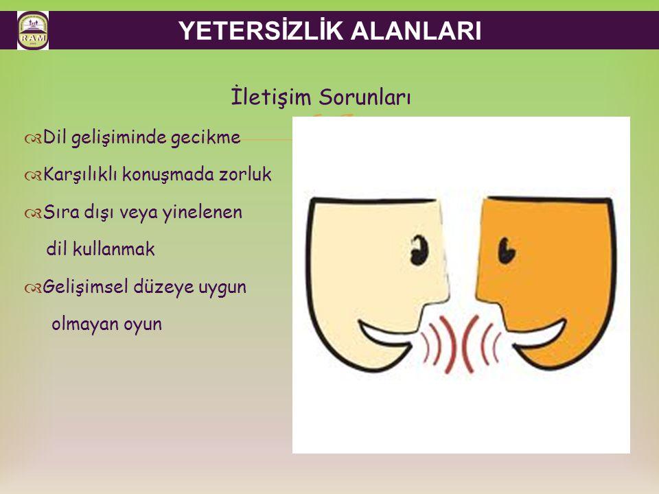 YETERSİZLİK ALANLARI İletişim Sorunları Dil gelişiminde gecikme