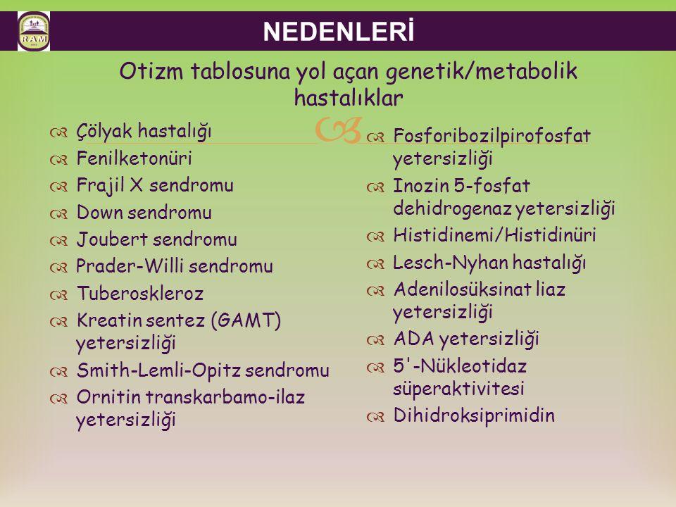 Otizm tablosuna yol açan genetik/metabolik hastalıklar