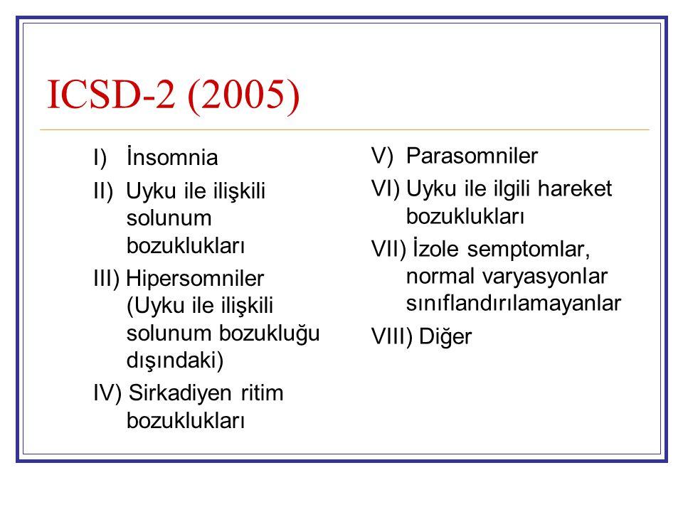 ICSD-2 (2005) I) İnsomnia V) Parasomniler