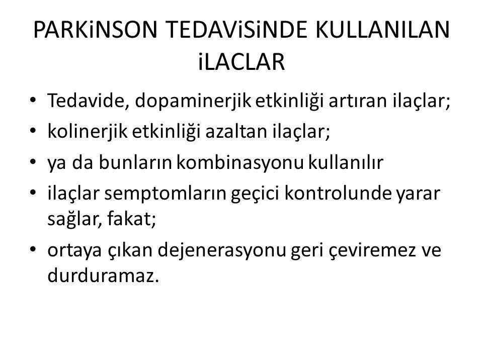 PARKiNSON TEDAViSiNDE KULLANILAN iLACLAR