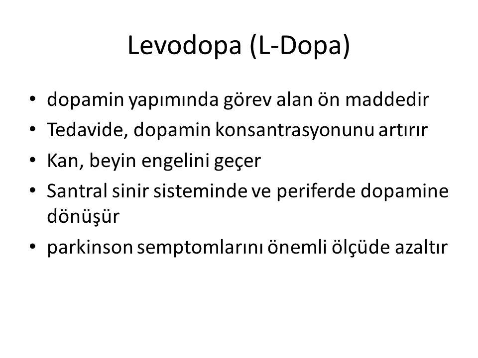Levodopa (L-Dopa) dopamin yapımında görev alan ön maddedir
