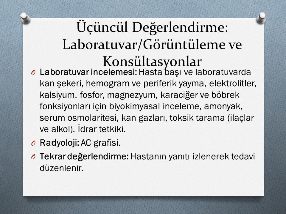 Üçüncül Değerlendirme: Laboratuvar/Görüntüleme ve Konsültasyonlar