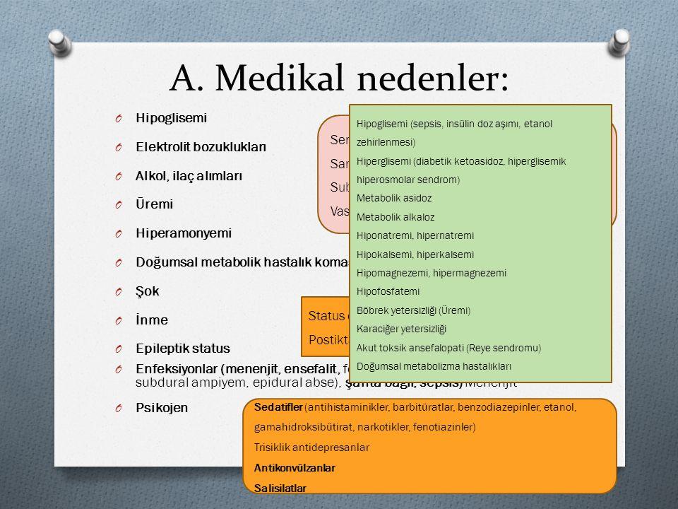 A. Medikal nedenler: Hipoglisemi Elektrolit bozuklukları