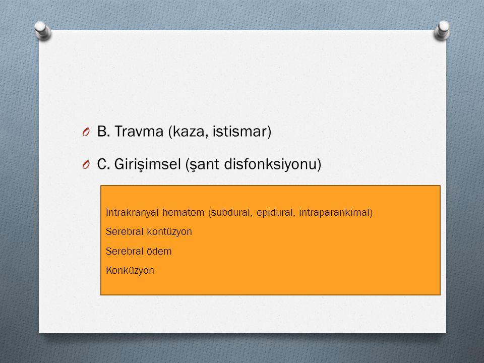 B. Travma (kaza, istismar) C. Girişimsel (şant disfonksiyonu)