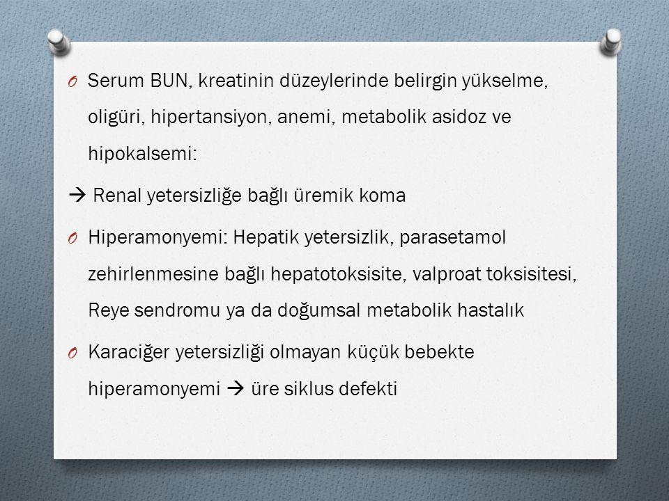 Serum BUN, kreatinin düzeylerinde belirgin yükselme, oligüri, hipertansiyon, anemi, metabolik asidoz ve hipokalsemi: