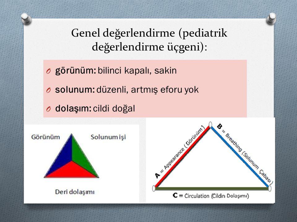 Genel değerlendirme (pediatrik değerlendirme üçgeni):