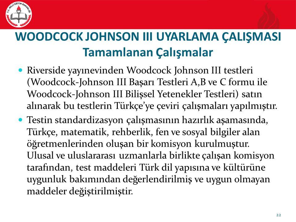 WOODCOCK JOHNSON III UYARLAMA ÇALIŞMASI Tamamlanan Çalışmalar