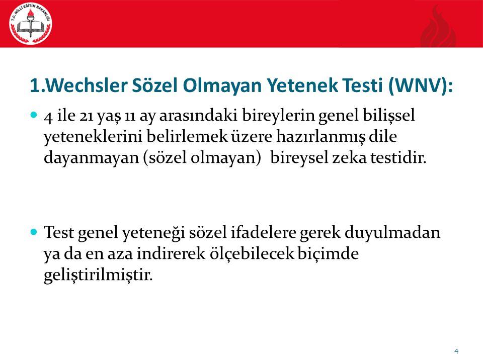 1.Wechsler Sözel Olmayan Yetenek Testi (WNV):