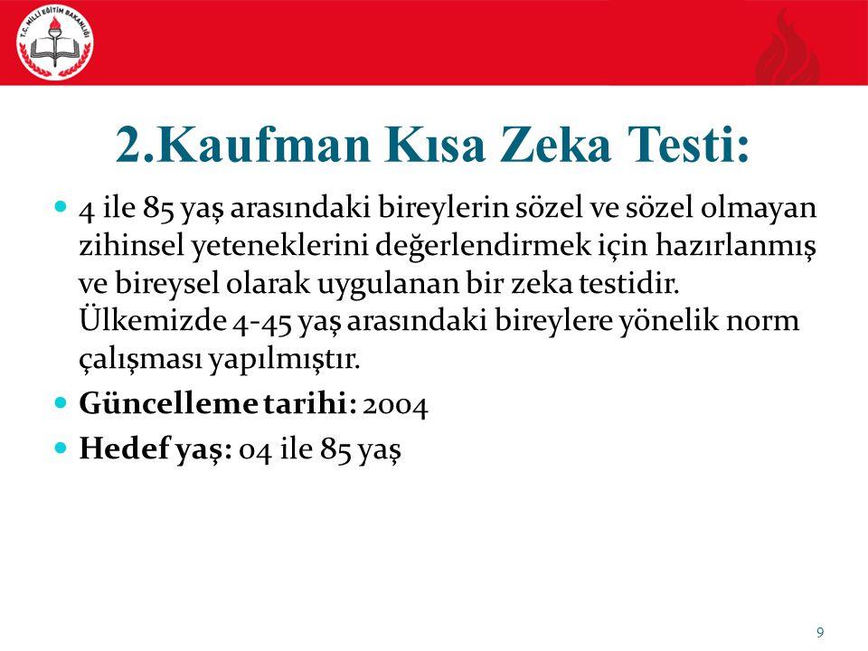 2.Kaufman Kısa Zeka Testi: