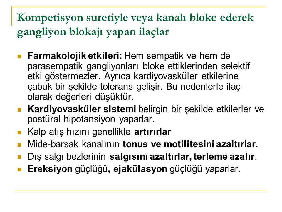 Kompetisyon suretiyle veya kanalı bloke ederek gangliyon blokajı yapan ilaçlar