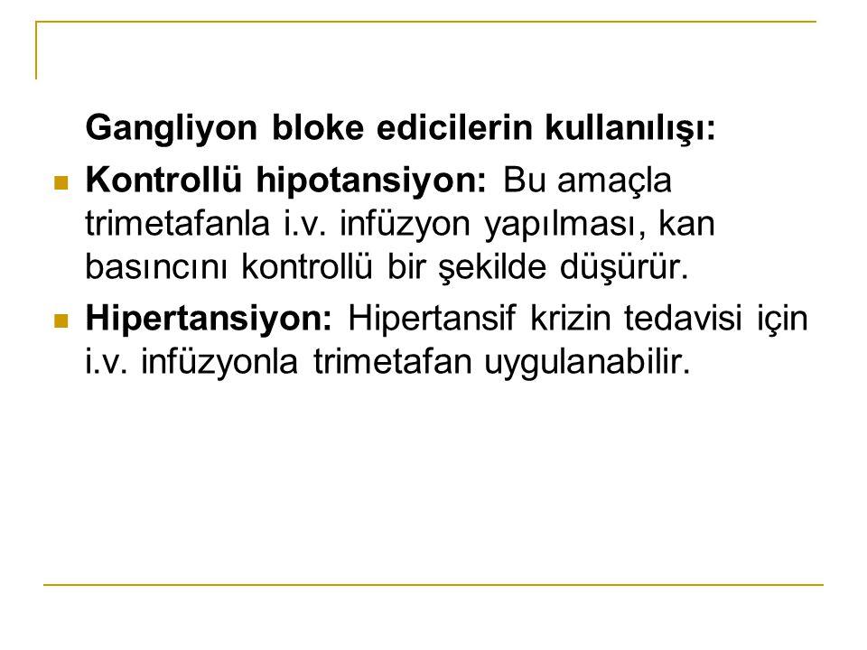 Gangliyon bloke edicilerin kullanılışı: