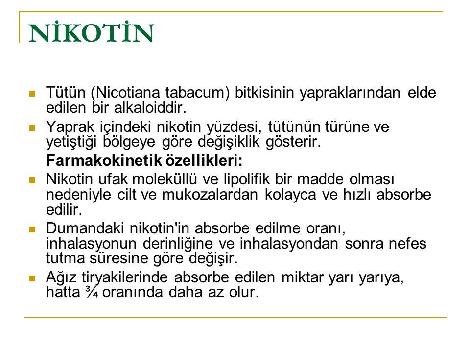 NİKOTİN Tütün (Nicotiana tabacum) bitkisinin yapraklarından elde edilen bir alkaloiddir.