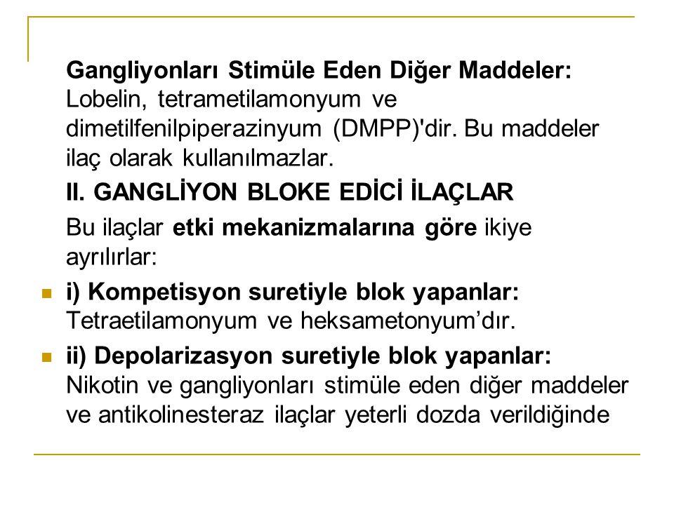Gangliyonları Stimüle Eden Diğer Maddeler: Lobelin, tetrametilamonyum ve dimetilfenilpiperazinyum (DMPP) dir. Bu maddeler ilaç olarak kullanılmazlar.