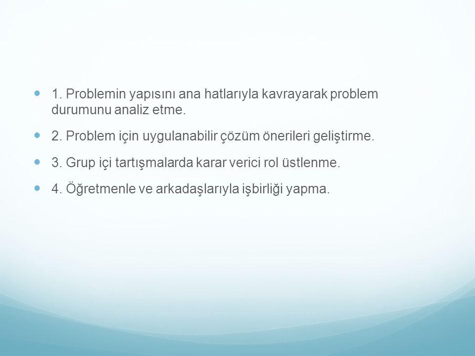 1. Problemin yapısını ana hatlarıyla kavrayarak problem durumunu analiz etme.