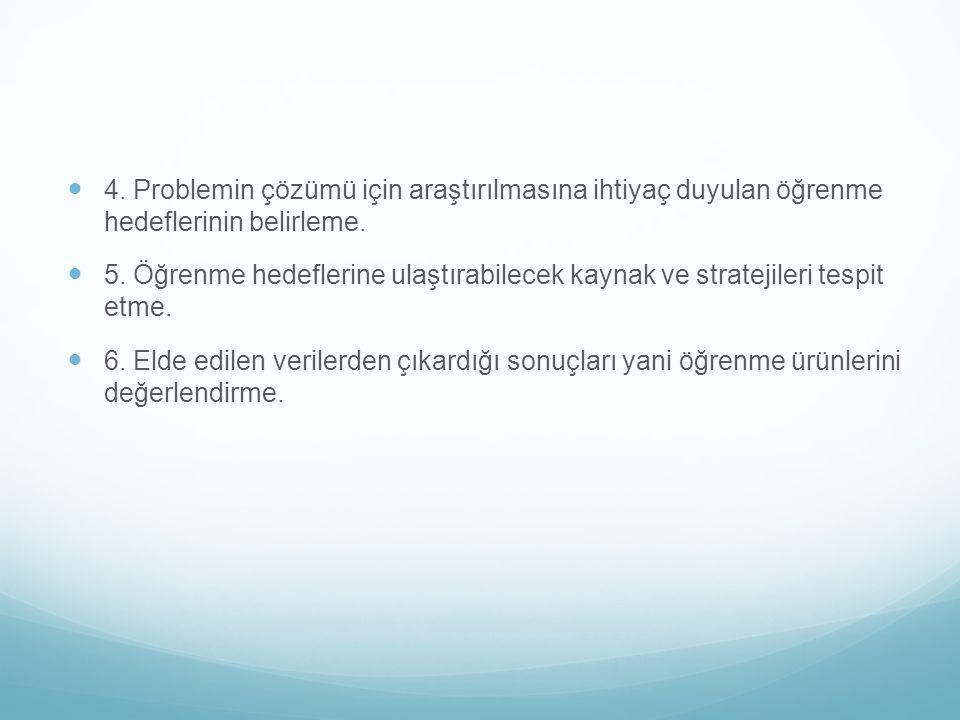 4. Problemin çözümü için araştırılmasına ihtiyaç duyulan öğrenme hedeflerinin belirleme.