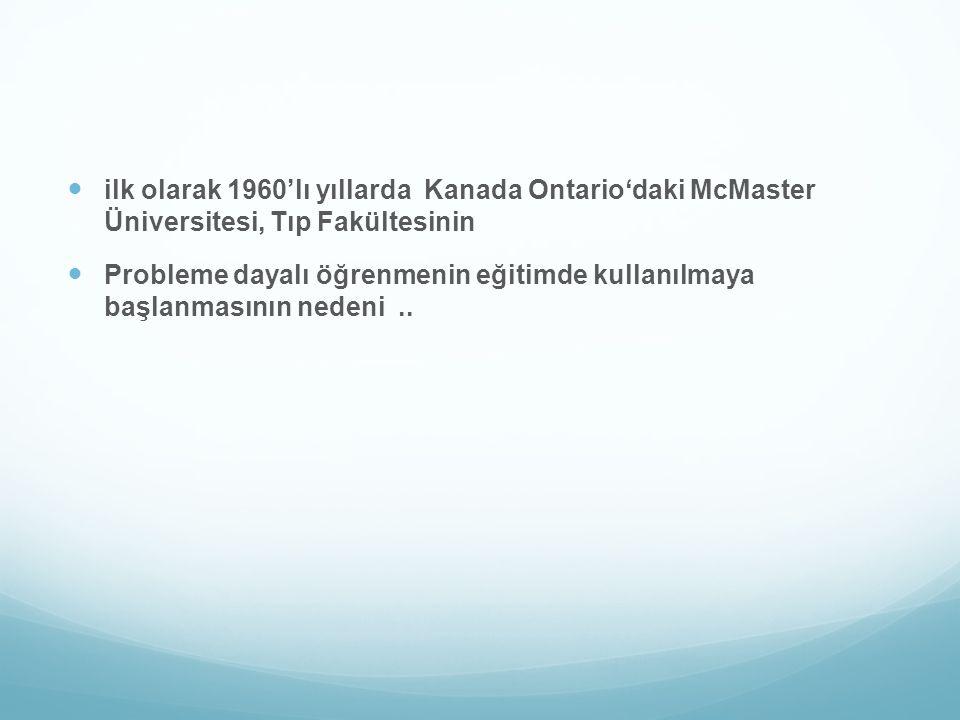ilk olarak 1960'lı yıllarda Kanada Ontario'daki McMaster Üniversitesi, Tıp Fakültesinin