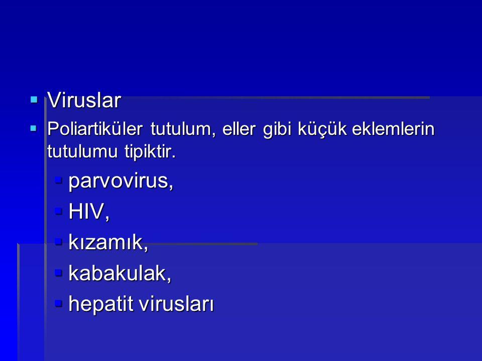 Viruslar parvovirus, HIV, kızamık, kabakulak, hepatit virusları