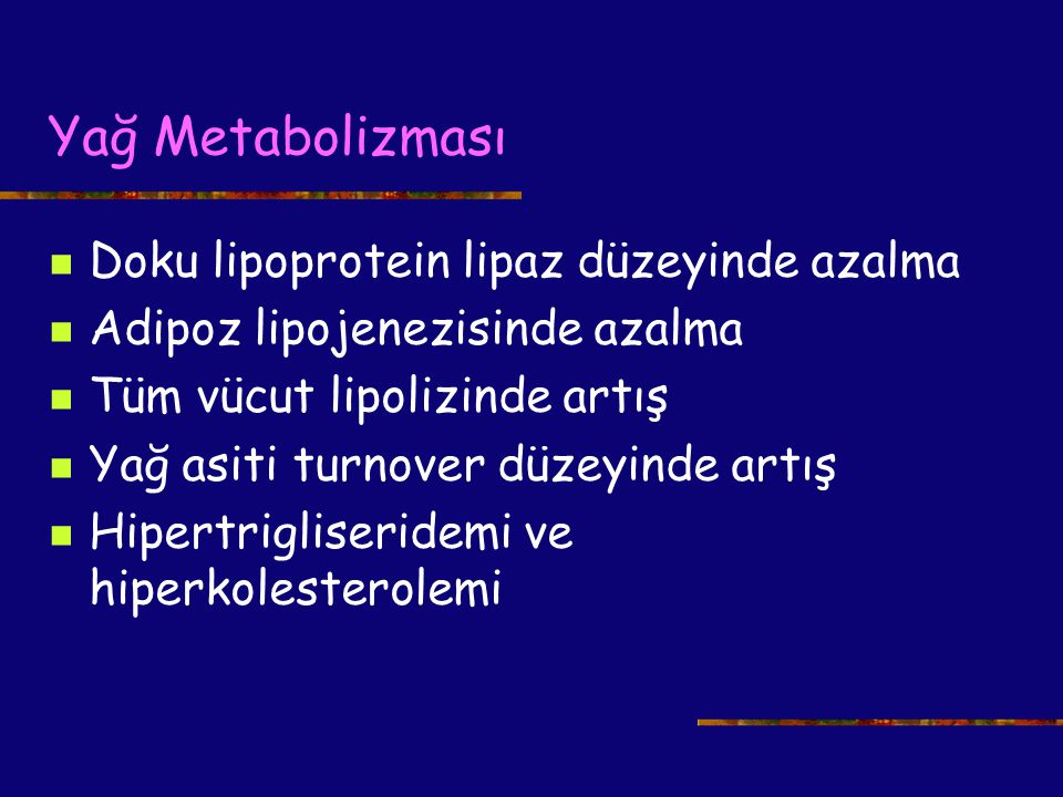 Yağ Metabolizması Doku lipoprotein lipaz düzeyinde azalma