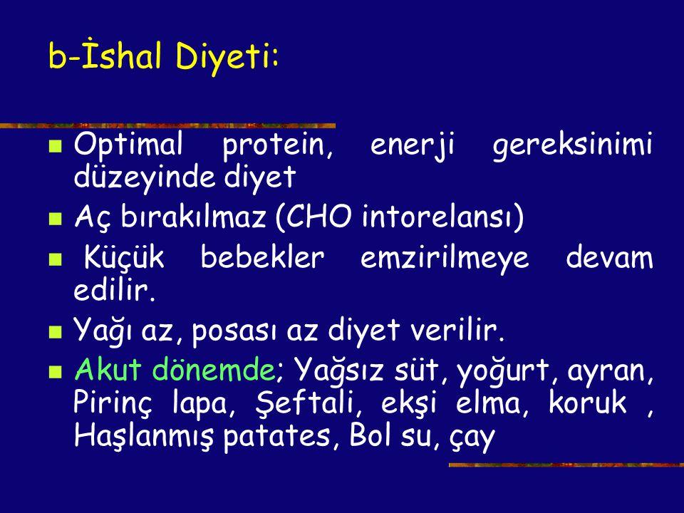 b-İshal Diyeti: Optimal protein, enerji gereksinimi düzeyinde diyet