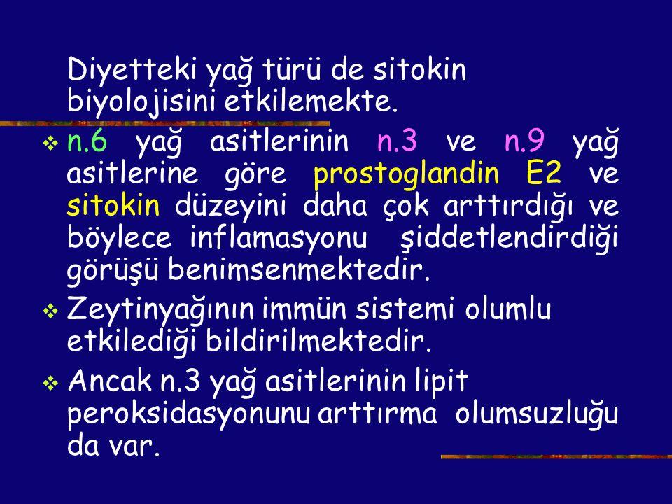 Diyetteki yağ türü de sitokin biyolojisini etkilemekte.