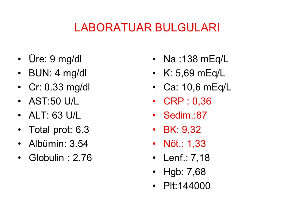 LABORATUAR BULGULARI Üre: 9 mg/dl BUN: 4 mg/dl Cr: 0.33 mg/dl