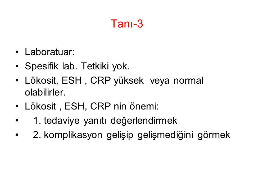Tanı-3 Laboratuar: Spesifik lab. Tetkiki yok.