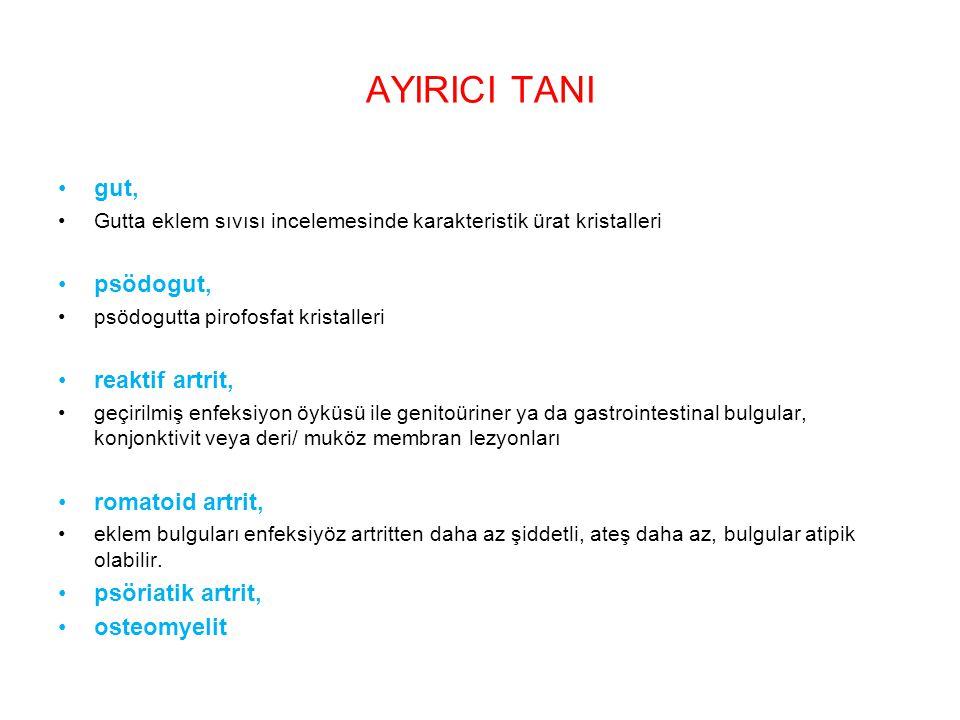 AYIRICI TANI gut, psödogut, reaktif artrit, romatoid artrit,