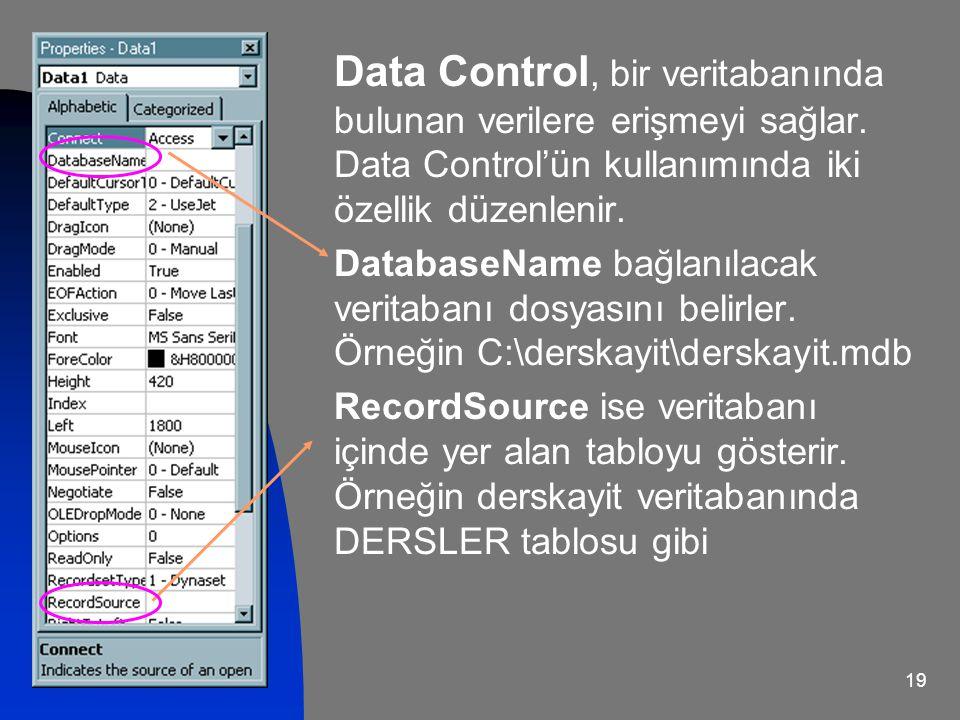 Data Control, bir veritabanında bulunan verilere erişmeyi sağlar