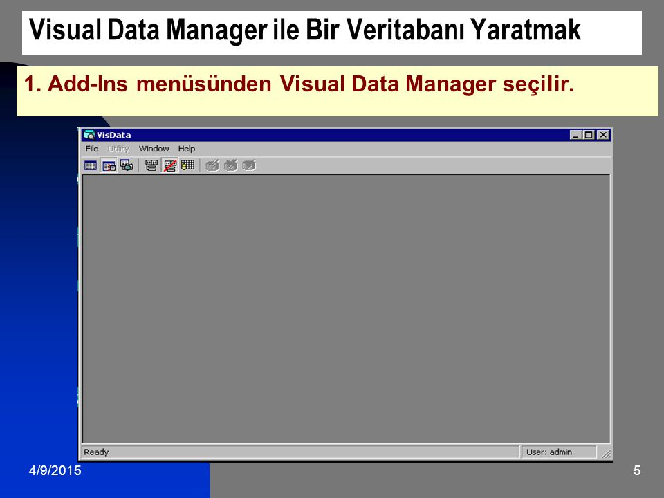 Visual Data Manager ile Bir Veritabanı Yaratmak