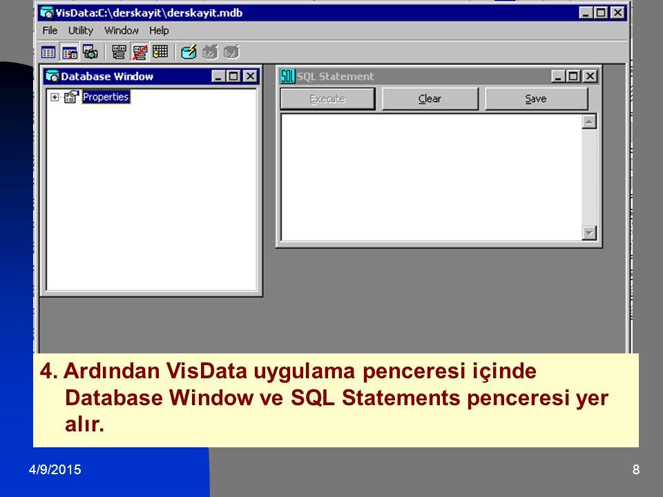 4. Ardından VisData uygulama penceresi içinde Database Window ve SQL Statements penceresi yer alır.
