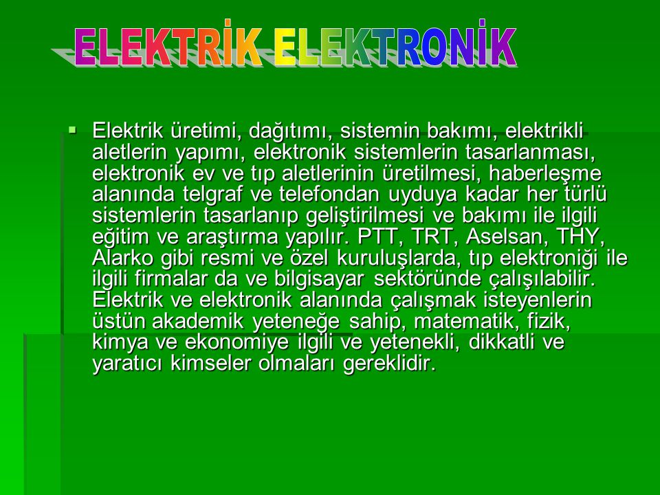 ELEKTRİK ELEKTRONİK