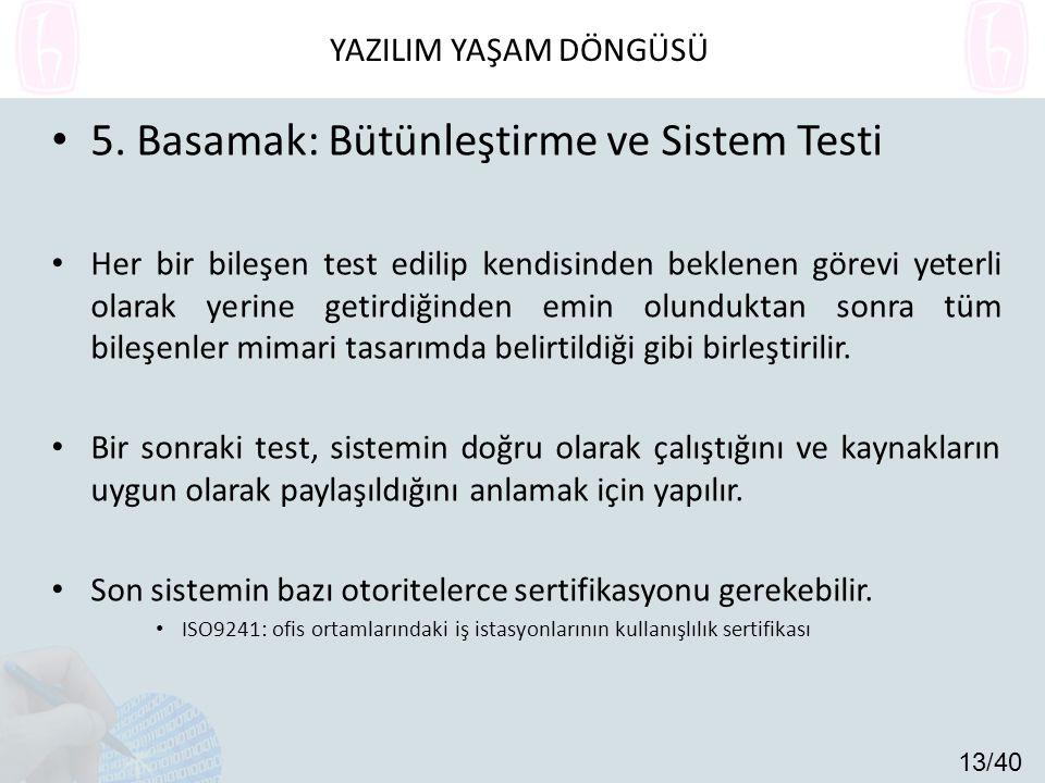 5. Basamak: Bütünleştirme ve Sistem Testi