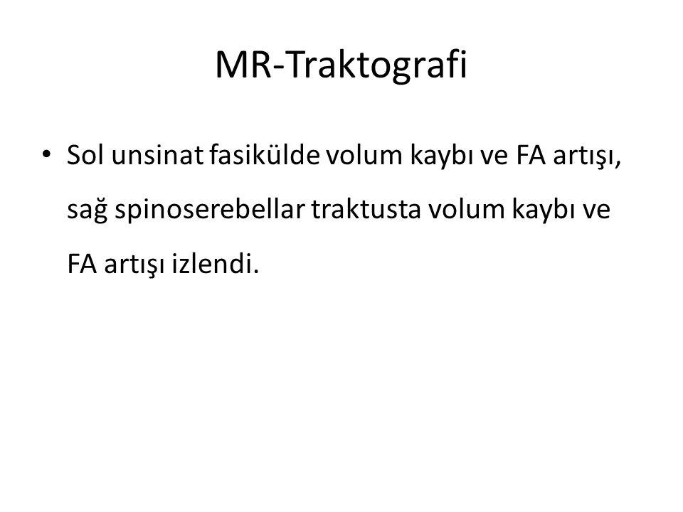 MR-Traktografi Sol unsinat fasikülde volum kaybı ve FA artışı, sağ spinoserebellar traktusta volum kaybı ve FA artışı izlendi.