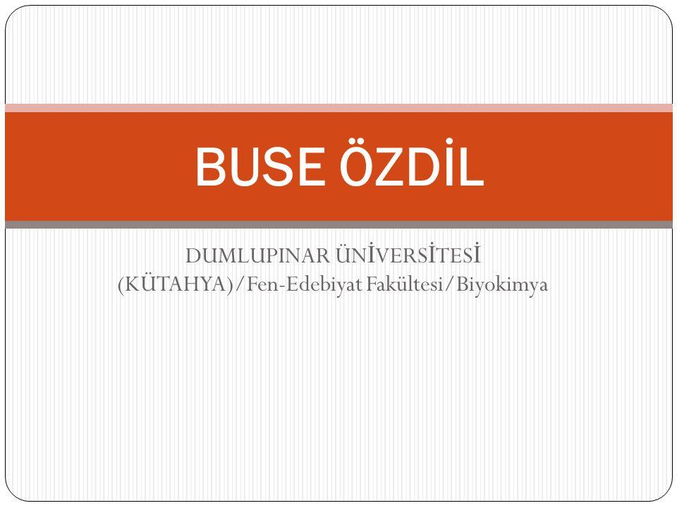 DUMLUPINAR ÜNİVERSİTESİ (KÜTAHYA)/Fen-Edebiyat Fakültesi/Biyokimya
