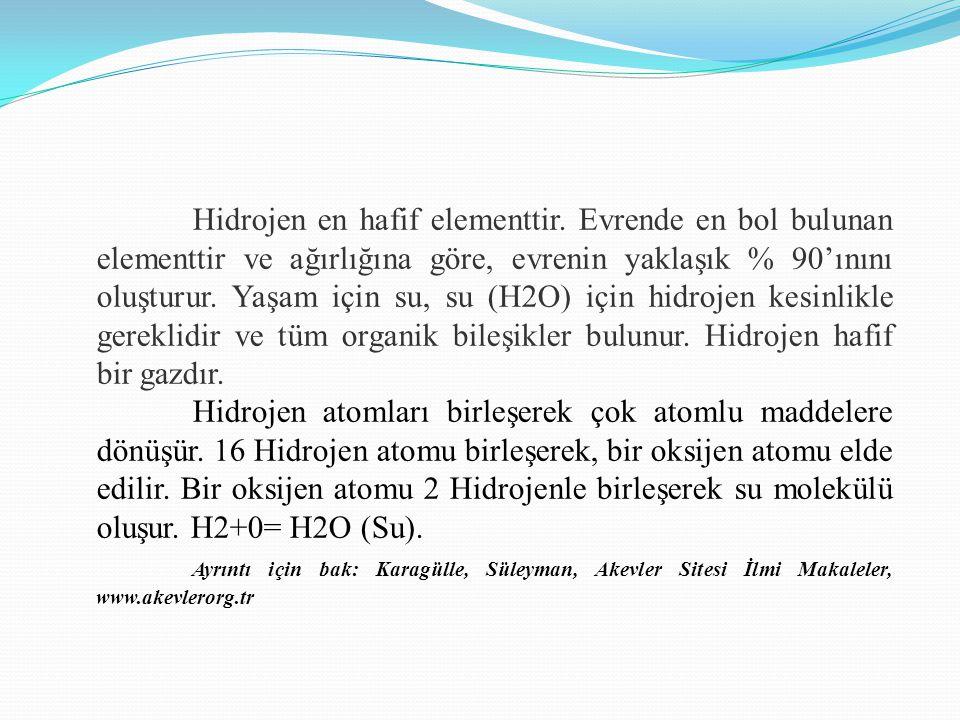 Hidrojen en hafif elementtir